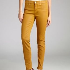 J Brand Super skinny coated wax jeans in mustard